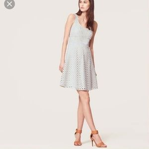 Ann Taylor Loft Eyelet Fit and Flare Dress Size 6
